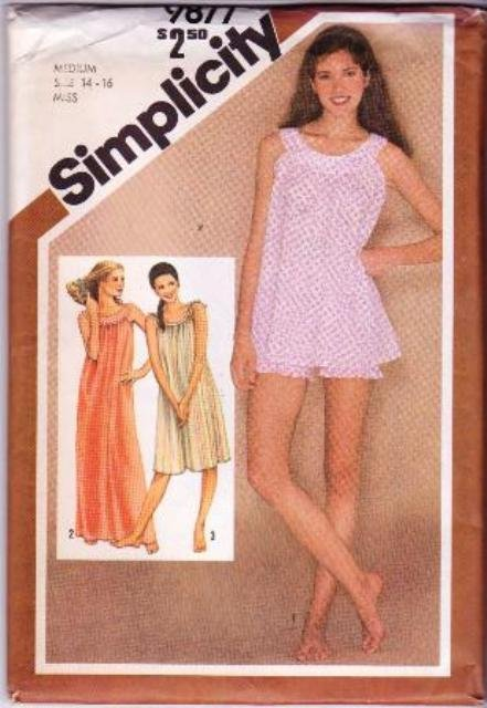 Simplicity 9877 Vintage Sewing Pattern Misses� Nightgown & Baby Dolls Size 14-16 ©1980