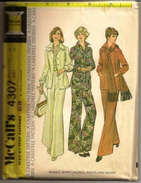 McCall�s Pattern 4307 Misses Shirt-Jacket Pants & Scarf Size 14 ©1974