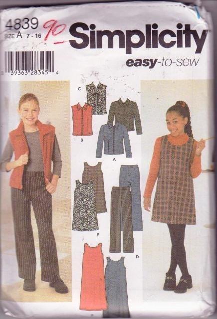 Simplicity Pattern 4839 Girls School Separates or Play Wardrobe Ensemble Sizes 7-16