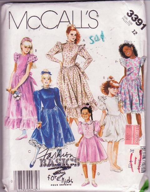 McCall�s Fashion Basics for Kids Girls Dress & Attached Petticoat Size 12 Dated 1987