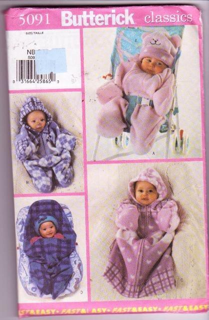 Butterick 5091 Pattern Classics Infant Bunting & Hat Easy Size NB-M Uncut