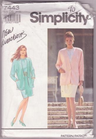 Simplicity Sewing Pattern 7443 Misses Blouse Skirt Jacket Size 4-18 Dated 1991