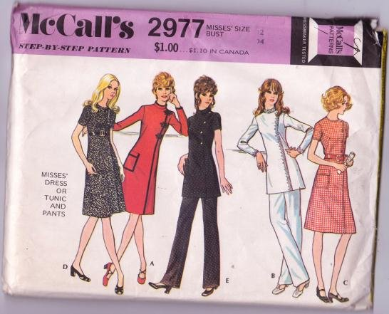 McCall�s 2977 Vintage Asymmetrical Dress Tunic and Pants Pattern Size 12 Dated 1971