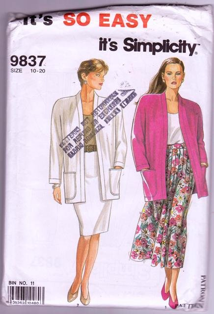 Simplicity Sewing Pattern 9837 Pleated Slim Skirt Unlined Jacket Size 10 - 20 Dated 1990