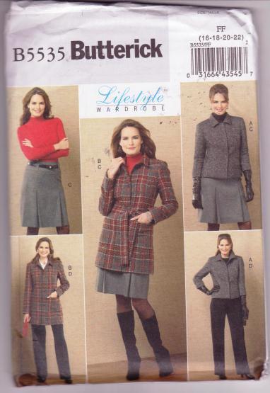 Butterick B5535 Misses Wardrobe Sewing Pattern Jacket Belt Skirt Pants Size 16-22 Dated 2010
