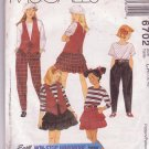 McCalls Girls Wardrobe for Kids Pattern 6702 Dated 1993 Sizes 7-10