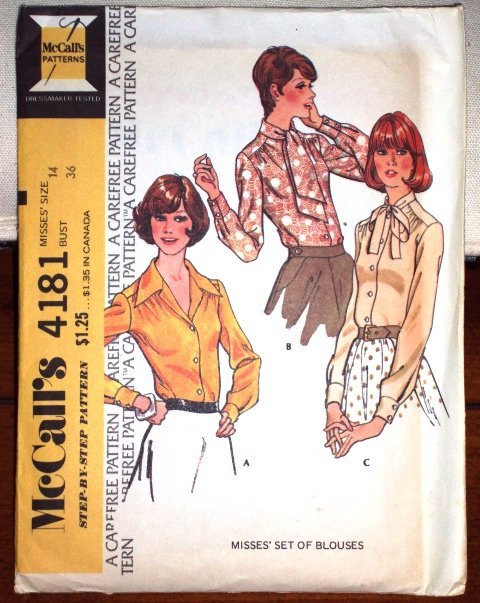 Vintage 1974 McCall�s Pattern Mad Men Style Misses set of Blouses 4181 Size 14