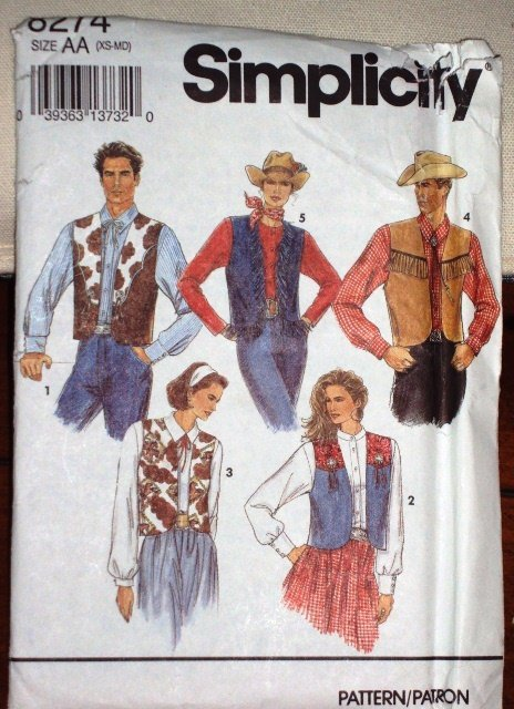 Simplicity Pattern 8274 Vintage Misses Teen Boys Western Vest Size XS-M Dated 1992
