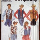 Simplicity Pattern 8274 Vintage Misses Teen Boys Western Vest Size XS-M Dated 1992