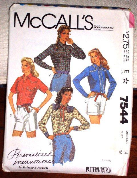 McCall's Pattern 7544 Vintage Western Women's Shirt Size 14