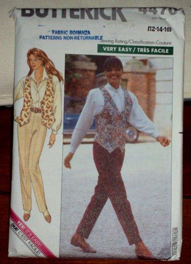 Butterick Pattern 4470 Retro 1989 Shirt/Blouse Vest Pants Misses Sizes 12-16 © 1989