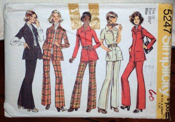 Vintage Simplicity Pattern 5247 Misses Shirt Jacket Pants Size 10 © 1972