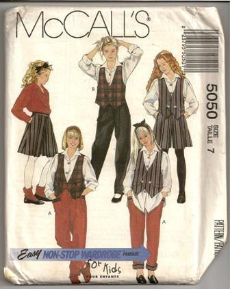 Vintage 1990 McCalls Pattern 5050 Girls Reversible Vest Blouse Split Skirt Pants Size 7