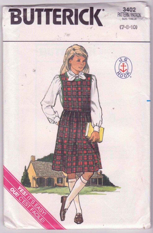 Butterick Vintage Sewing Pattern 3402 Girls School Jumper Blouse Sizes 7 to 10 Dated 1985 JJ Hook