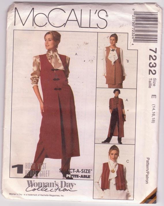McCalls Sewing Pattern 7232 Unlined Vests Woman's Day Collection 1994 Sizes 14 16 18