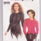 Simplicity Sewing Pattern 9836 Misses Fitted Blouse Sizes 10-20 ©1990