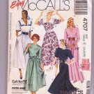 McCalls 4707 Pattern Easy Misses Dress Uncut Collar Variations Sizes 14-18 Vintage 1990