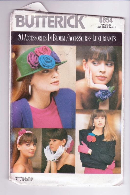 Butterick 6654 Pattern 20 Accessories In Bloom Headband Corsage Bows © Vintage 1988