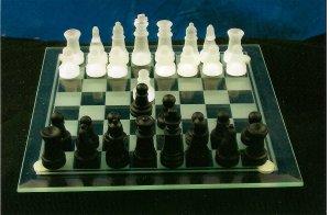 "8"" Glass Chess Set"