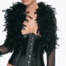 Satin Princess Lined Metal Boned Waist Cinch & Lycra Mesh Feather Bolero
