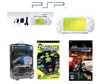 "Sony PSP ""Limited Edition"" Ceramic White ""Racing Bundle"" - 21 Games + PSP Car Kit"