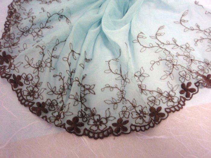 2metre blue CHIFFON embroidered lace