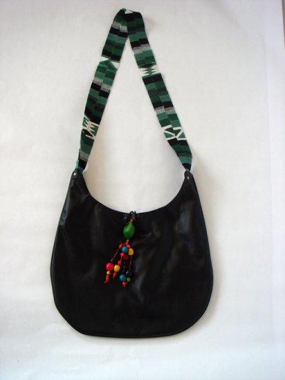 Black Hobo Handbag with Colorful Woven Strap