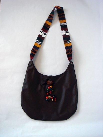Brown Hobo Handbag with Colorful Woven Strap