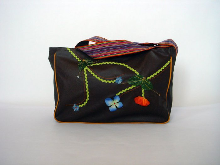 Brown Tote Handbag with Colorful Woven Strap
