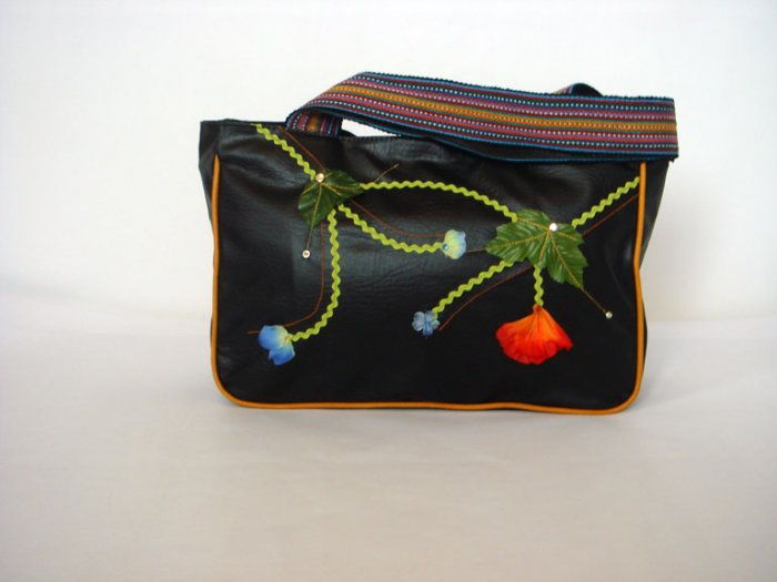 Black Tote Handbag with Colorful Woven Strap