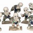 Antique Ivory Finish Set Of 10 Kong Fu Kids Sculptures