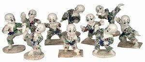 Antique Ivory Finish Set Of 10 Kong Fu Kids Sculptures