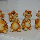 Set of 4 CERAMIC Tiger Figurine