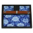 Blue Burst Flower Sushi Set for Two (J1049)