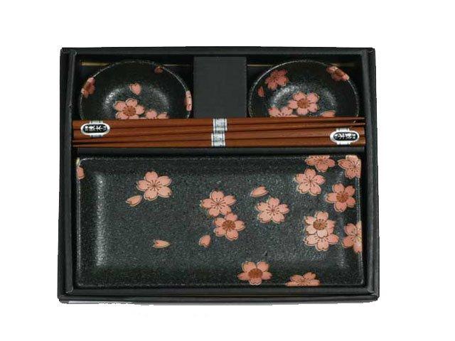 Black Chrysanthemum Sushi Set for Two (J1095)