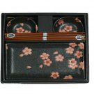 Black Chrysanthemum Sushi Set for Two (J1095)