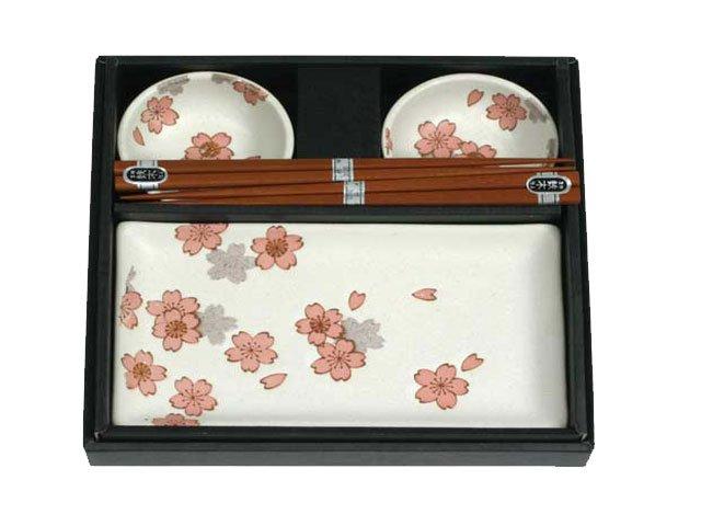 White Chrysanthemum Sushi Set for Two (J1096)