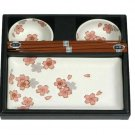 White Chrysanthemum Sushi Set for Two (J1096)