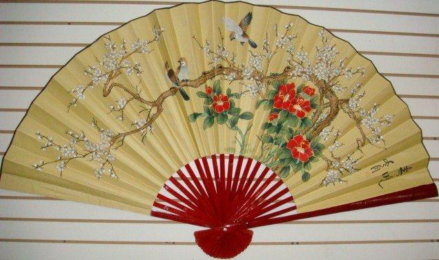 """Classic 35"""" Oriental Feng Shui Wall Fan-Flowers (FB5)"""