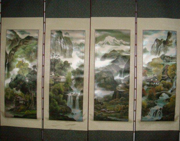 Set Of 4 Medium Silk Chinese Scroll Art (M1)