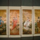 Set Of 4 Medium Silk Chinese Scroll Art (M2)