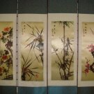Set Of 4 Medium Silk Chinese Scroll Art