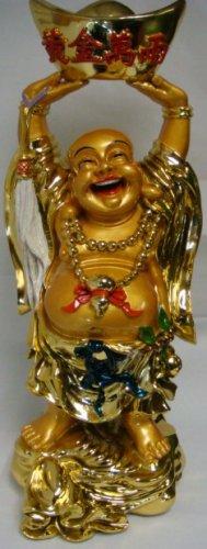Shinning Golden Happy Buddha Raising Chinese Ingot B