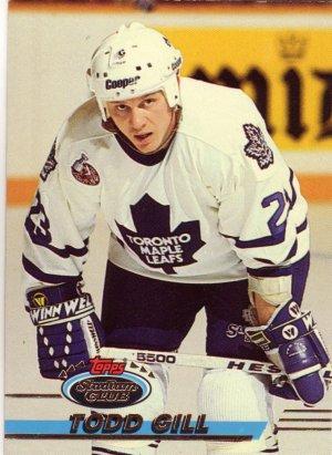 Todd Gill Topps Stadium Club 1993 Hockey Trading Card Maple Leafs