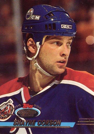 Shayne Corson Topps Stadium Club 1993 Hockey Trading Card Oilers