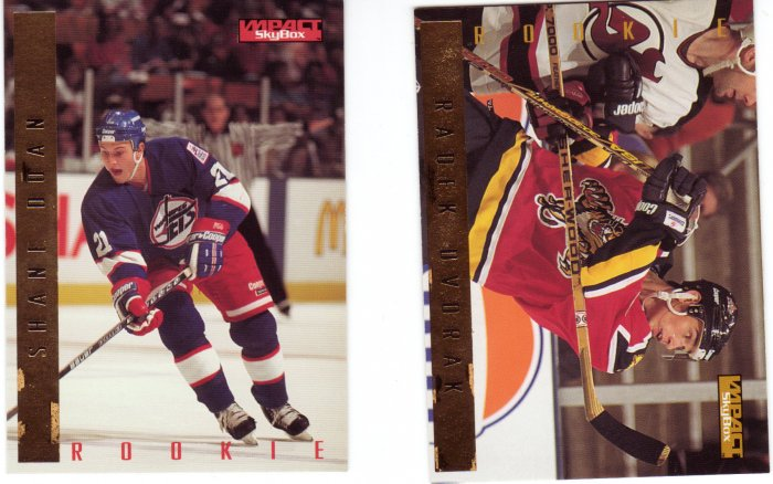 Rookie Hockey Trading Cards Lot of 2 Shane Doan, Radek Dvorak Skybox 1995-96