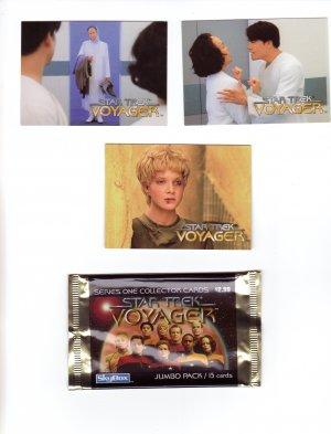 Star Trek Voyager Trading Cards 1995  Cards #43, 44, 50 & Wrapper