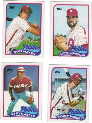 Philadelphia Phillies Baseball Trading Cards Lot of 4 Topps 1989