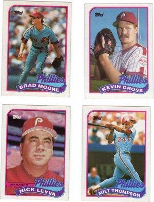 Philadelphia Phillies Baseball Trading Topps 1989 Cards Lot of 4