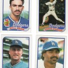 Los Angeles Dodgers Baseball Trading Topps 1989 Cards Lot of 4